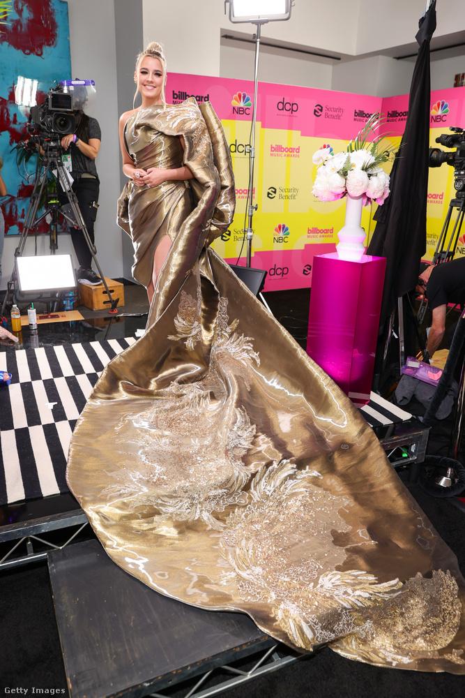 Az ő neve Gabby Barrett, és egy bronzszínű anyagból készült ruhát viselt, komikusan túlméretes uszállyal.