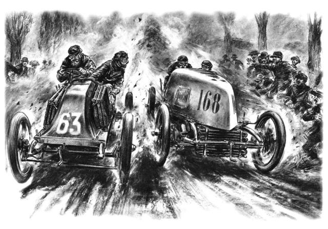 Tengely, tengely melletti küzdelem. Fernand Gabriel (Mors), a későbbi győztes előzi Marcel Renault-t a Párizs–Madrid versenyen. Carlo Demand grafikája