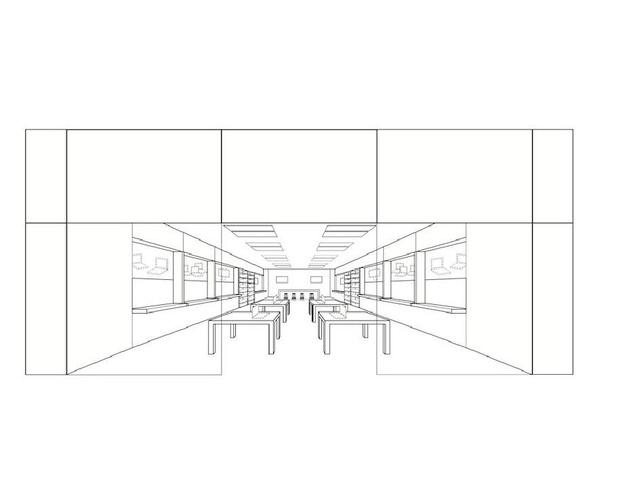 A szabadalomhoz csatolt ábra a az Apple boltok kinézetéről