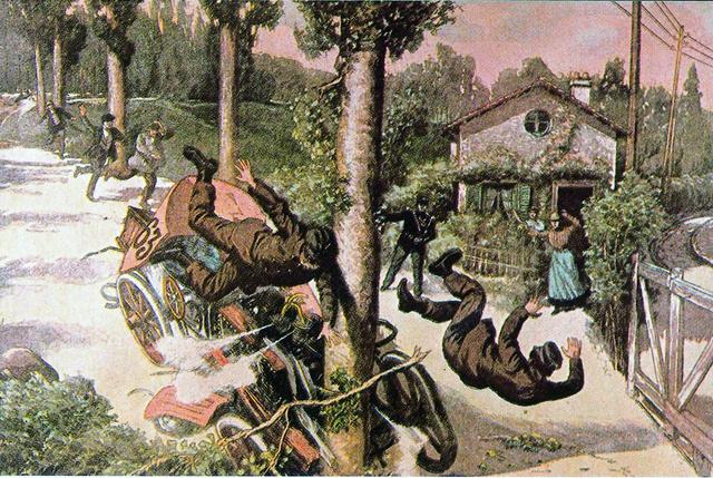 A Le Petit Journal rajzolója így örökítette meg abalesetet