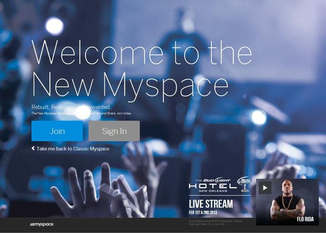 A Myspace új kezdőképernyője