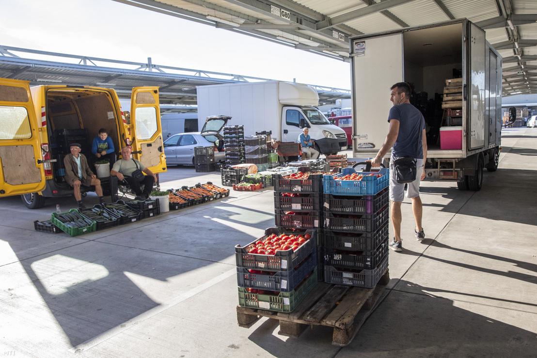 Árusok a szegedi nagybani piacon 2020. július 28-án