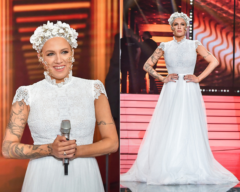 Tóth Gabi mesebeli hercegnőnek is beillett a Daalarna hófehér, csipkével díszített kreációjában. A mesés ékszereket és fejdíszt a Rienne Bride Accessoriesnak köszönhette.
