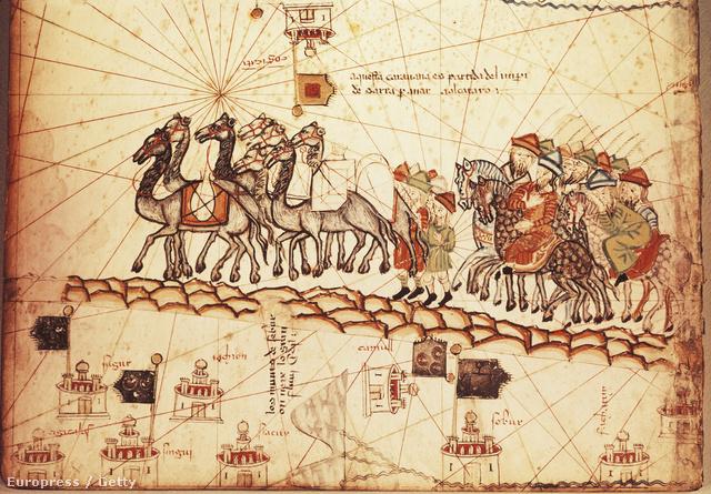 Katalán kereskedők az 1375-ben kiadott Katalóniai Atlasz című kódex lapjain