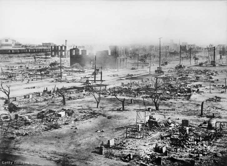 Tulsa Greenwood negyede a pogrom után 1920 júniusában