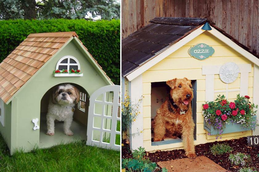 Ezek a cuki kutyalakok vidéki stílusban készültek: természetesen virágok is kerültek a házikók ablakaiba.