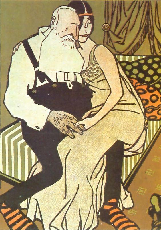 Karikatúra az idős királyról és fiatal szeretőjéről.