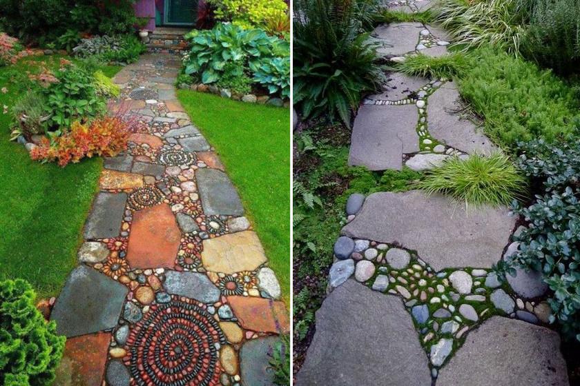 Aki szereti az izgalmas megoldásokat, pala és kisebb-nagyobb kavicsok lerakásával szuper egyedi és divatos kerti utat készíthet.