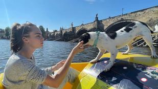 Sáfrány Emese rövid hajú képet posztolt, Cara Delevingne Prágában vízibiciklizik