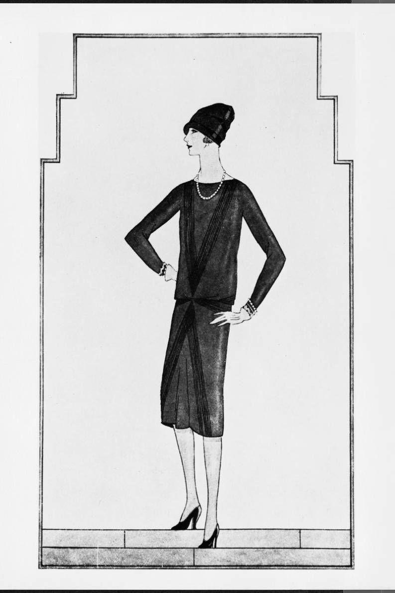Chanel első tervei a kis fekete ruháról.