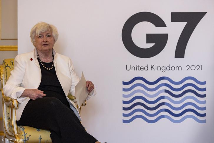 Janet Yellen amerikai pénzügyminiszter a G7 pénzügyminisztereinek találkozóján 2021. június 5-én