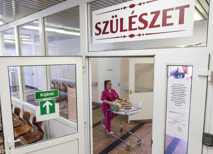 Egy nővér kisbabát tol a győri Petz Aladár Megyei Oktató Kórház családbarát szülészetén a részleg ünnepélyes átadásának napján, 2020. február 25-én