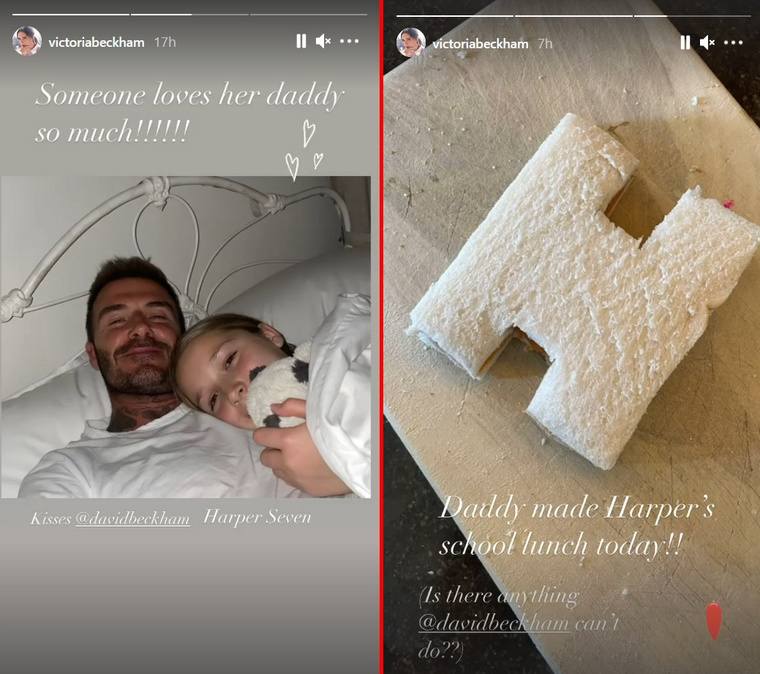 Ezt a két képet Victoria Beckham posztolta Instasztoriban.