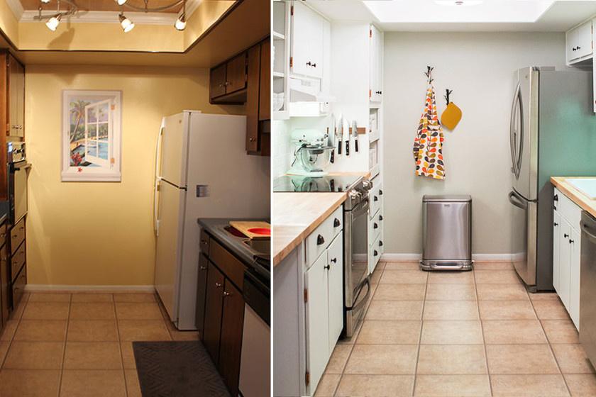 Mivel ebben a konyhában nem volt természetes fényforrás, a hosszúkás helyiség szomjazta a világosságot. A lehangoló sárga falat üde fehérre festették át, és a konyhabútort is fehérre cserélték. A vidám színű textilek kedvességet vittek a térbe.