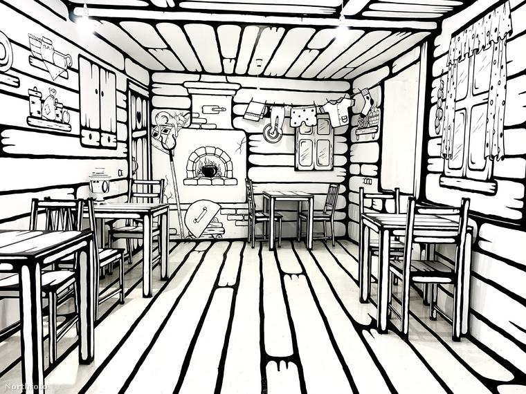 A Moszkvában és Szentpéterváron található Black and White (röviden BWCafe-ban) a bútorok és a dekoráció mind vastag, fekete vonalllal van megfestve, ezzel is 2D-s hatást keltve