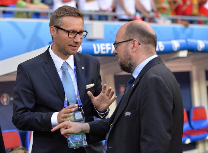 Dinnyés Márton (balra) az UEFA media officereként is dolgozik