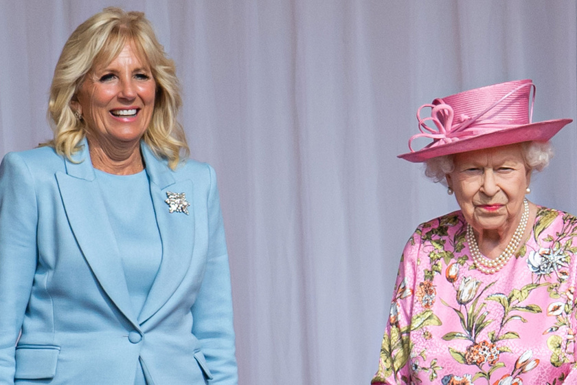 Jill Biden kék ruhában találkozott a királynővel: Katalint is megismerhette a first lady
