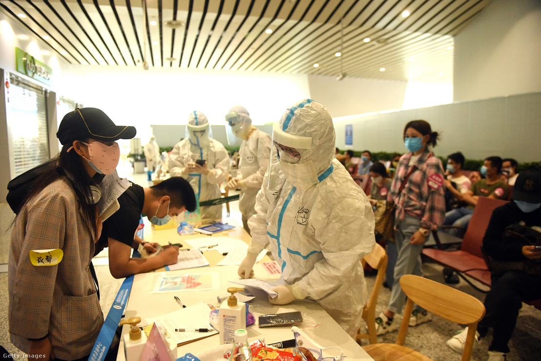 Tesztelés Guangzhouban 2020. március 25-én