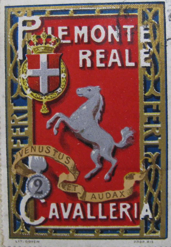 Az 1692-ben alapított 2. Piemonti Lovasezred egyik címerváltozata