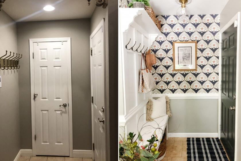 Ebbe a rendkívül egyszerű, sötét előszobába kedves mintákkal vittek életet. A tapéta és a szőnyeg más stílusúak, színeiknek köszönhetően mégis passzolnak. A falra dekoratív fogas-pad kombináció került.