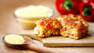 Leveles tésztában sült polenta kecskesajttal