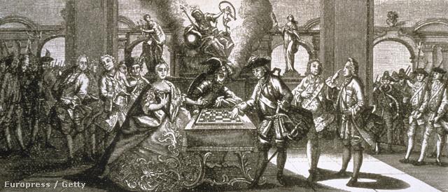 Rézkarc allegória a hétéves háború kezdetéről: Mária Terézia és II. Frigyes sakkoznak Marssal, a háború istenével