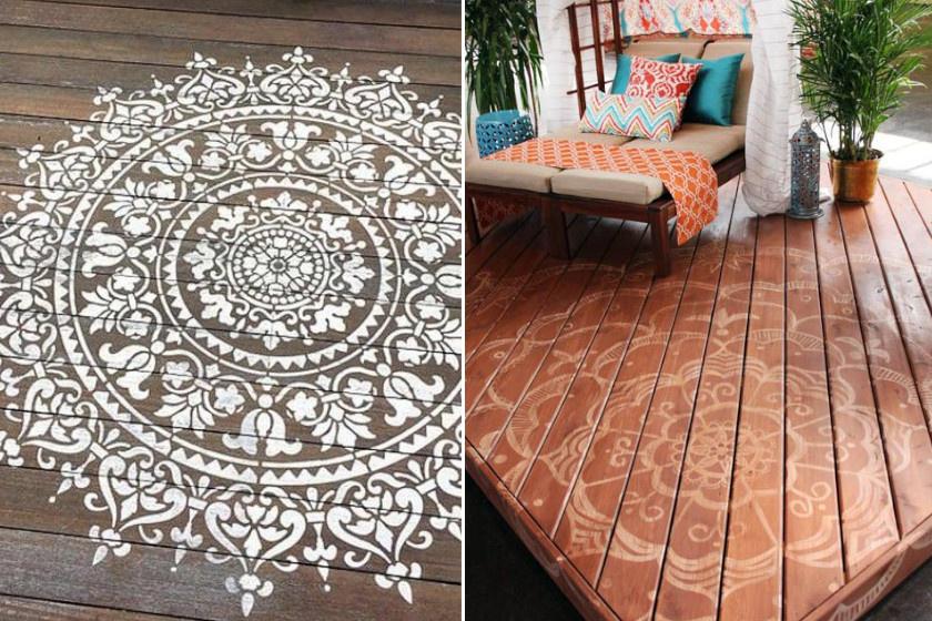 Ezek a gyönyörű mandalaminták igazán varázslatos hangulatot teremthetnek a teraszokon. A balra lévő stencilpapírral, a jobbra látható szabad kézzel készült krétafesték felhasználásával.