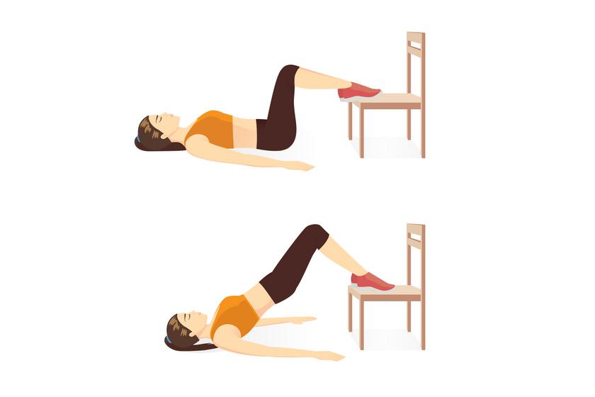 Helyezkedj el a talajon, a két kezed legyen kinyújtva a test mellett, a lábfejed pedig helyezd a szék ülőrészére. Végezz két sorozatban 30 csípőemelést. A gyakorlat megerősíti a far, az alsó hát és a has izmait is. Kezdőként a legideálisabb gyakorlatok egyike.