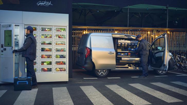 A Kangoo Van Open Sesame ajtónyílásához különleges kihajtható tárolórendszert tervezett egy felépítményes cég