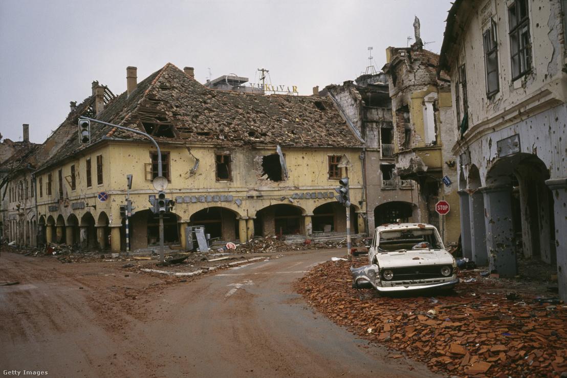A lebombázott Vukovár a Jugoszláv háborúban
