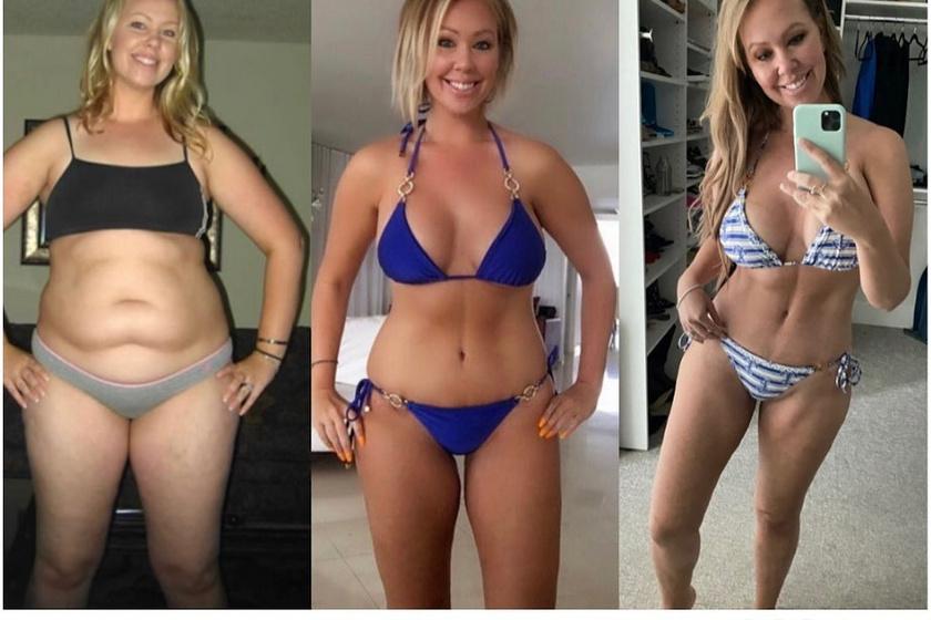 Az első kép 2011-ben, a második 2016-ban, a harmadik 2021-ben készült. A 104 kilós nő kezdetben kardiogyakorlatokat végzett, ennek köszönhetően 72 kilóra fogyott. A kardióról súlyzós gyakorlatokra tért át, öt év alatt pedig három kilóval több lett, noha a teste teljesen átalakult.