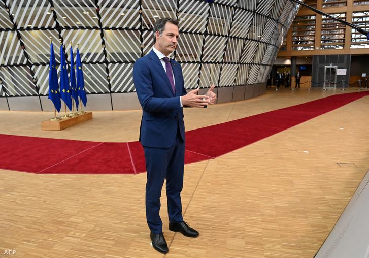 Alexander de Croo az Európai Unió csúcstalálkozójának első napján Brüsszelben 2021. június 24-én