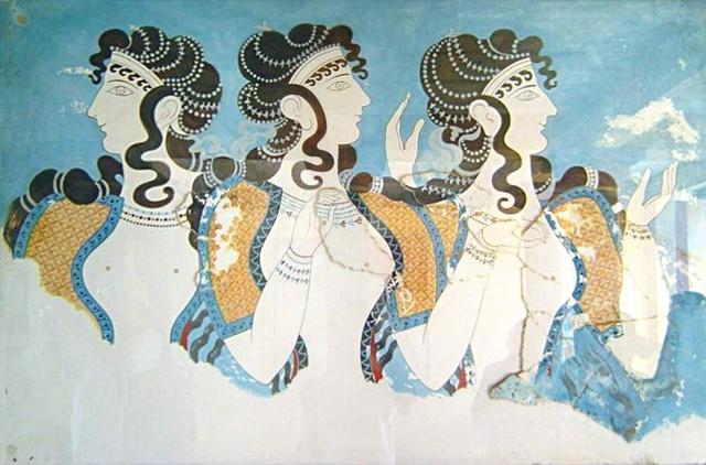 Nőket ábrázoló freskó a knósszoszi palotában