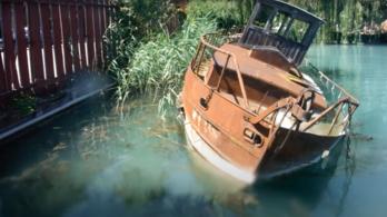 Százéves hajó rozsdáll a nádasban