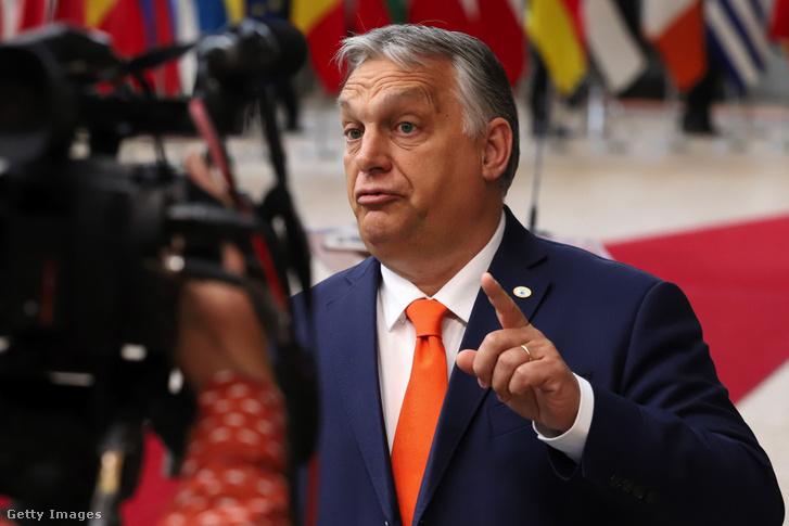 Orbán Viktor az Európai Unió csúcstalálkozóján 2021 június 24-én