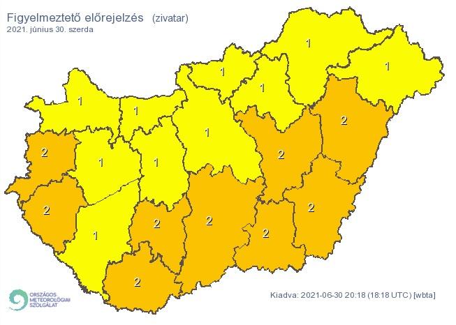 Figyelmeztető előrejelzés Magyarország területére