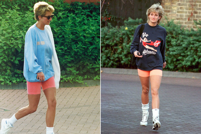 Diana hercegnét sokszor kapták lencsevégre hasonló sortban. Általában sportoláshoz viselte lezser melegítőfelsővel és edzőcipővel.
