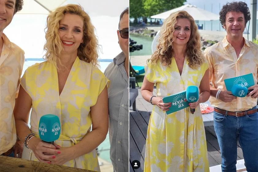 Novodomszky Éva szerdán egy sárga, virágmintás ruhában vezette a NYÁR 21 című műsort. Vizes hatású, hullámos frizurája egy tőle nem megszokott, nagyon dögös fazon volt.