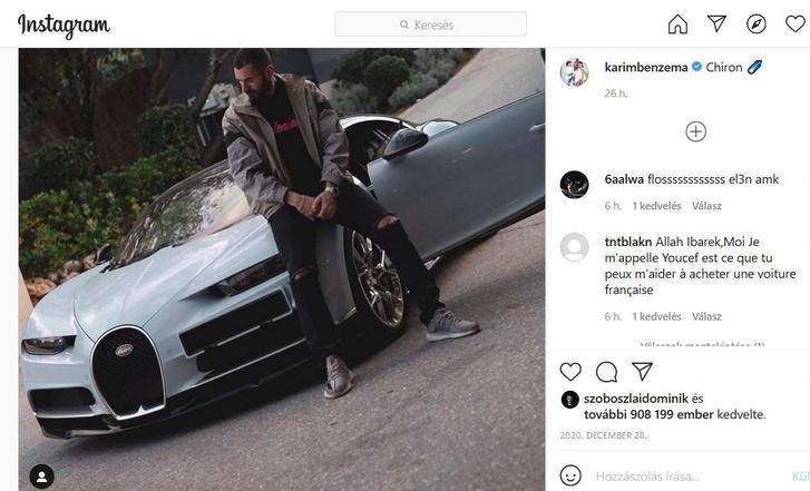 Karim Benzema és a Bugatti Chiron (forrás: Instagram)
