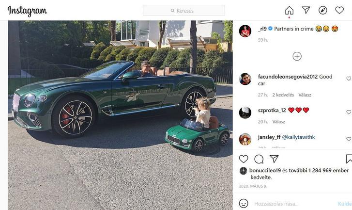 Robert Lewandowski összeöltözött a lányával, ami a Bentley Continental GT Speed Convertible-t illeti (forrás: Instagram)