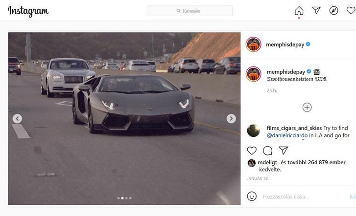 Memphis Depay szereti a gyors és drága autókat, itt egy Lamborghini Aventadorral krúzol (forrás: Instagram)