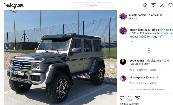 Marek Hamsik nem érte be egy széria G Mercivel, inkább egy G500 4x4^2-t választott (forrás: Instagram)