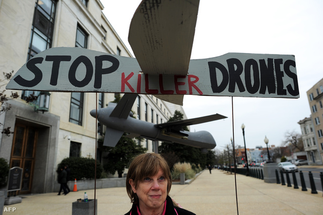 A drón bevetések ellen tiltakozók Washingtonban