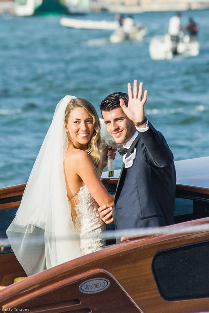 Ez a kép a spanyol Álvaro Morata és az olasz Alice Campello esküvőjén készült: a lagzit Velencében tartották 2017