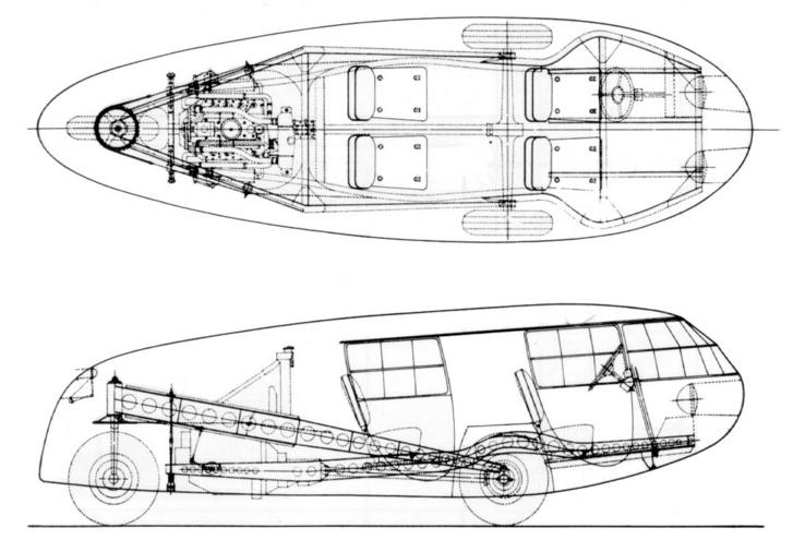 Minden szempontból forradalmi autó volt a Dymaxion Car. Formája áramvonalas, V8-as farmotorja az első kerekeket hajtotta