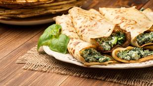 Spenótos-füstölt sajtos zabpalacsinta – remek reggeli, ha nem vagy épp édesszájú