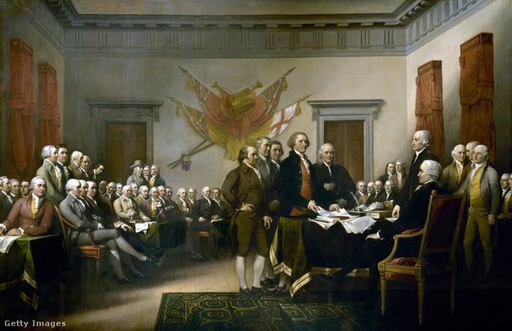 John Trumbull A függetlenségi nyilatkozat című festménye