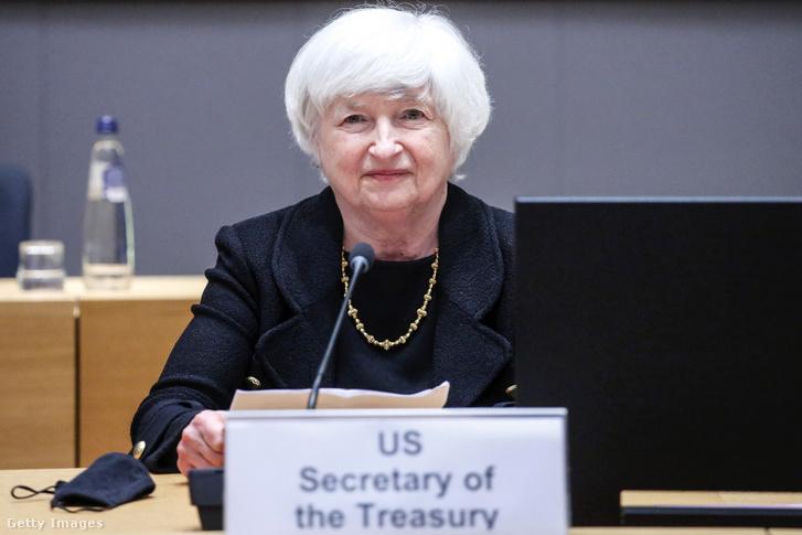 Janet Yellen amerikai pénzügyminiszter az Európai Unió pénzügyminisztereivel tanácskozik Brüsszelben, 2021 július 12-én