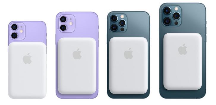 Az iPhone 12 széria, hátul a MagSafe akkumulátor kiegészítővel