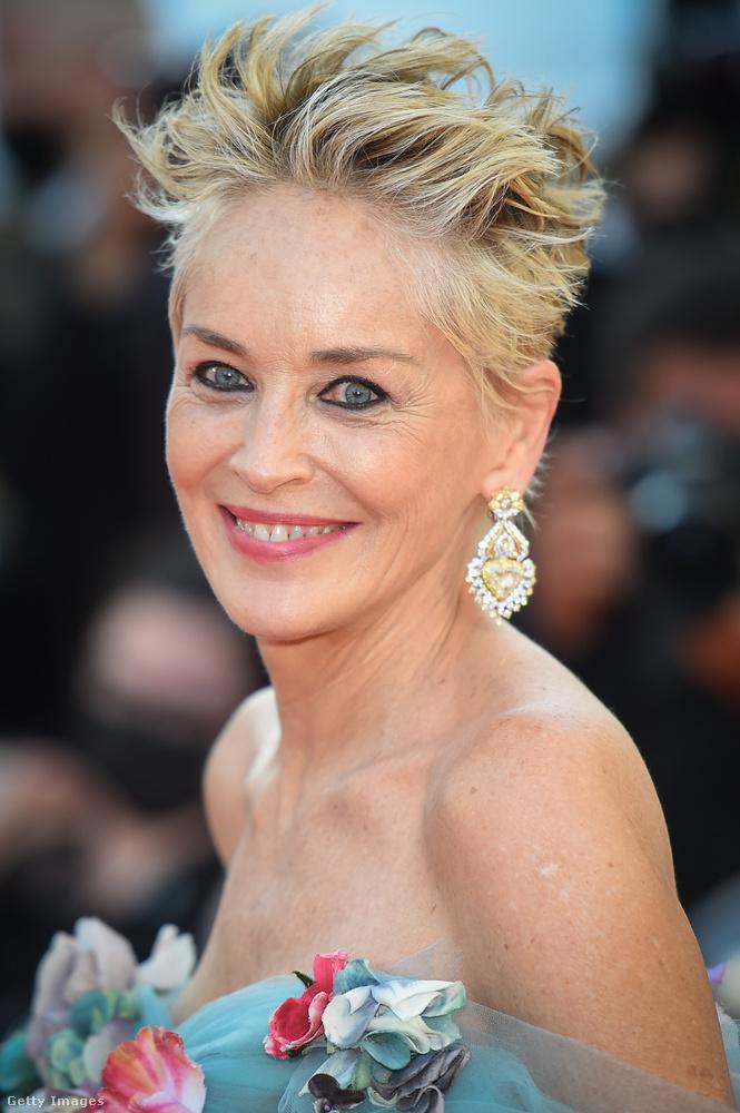 És ha már vele harangoztuk be a premiert, megmutatjuk Sharon Stone színésznőt, aki egy olyan virágos estélyivel tisztelte meg az eseményt, amilyenben még nem láttuk.